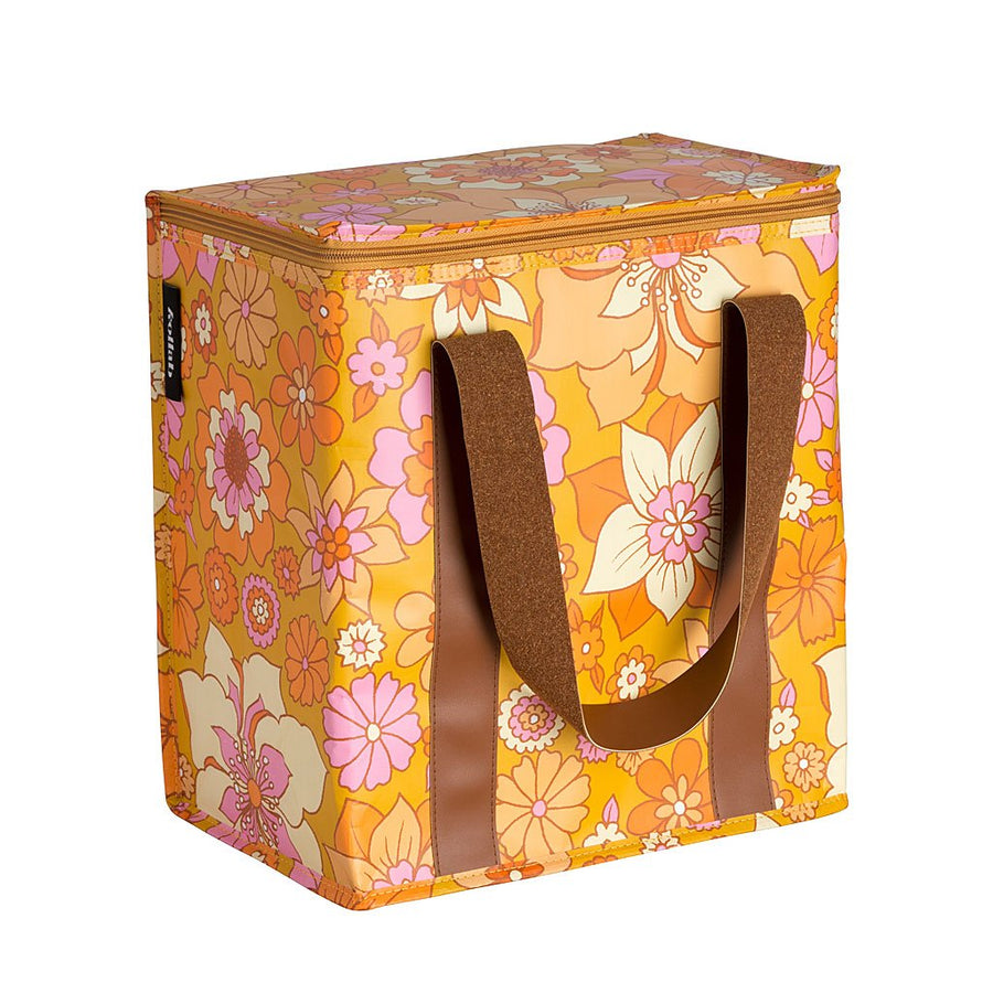 Retro Mustard Floral Cooler Bag