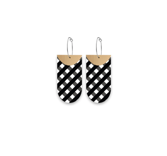 Ebony Striped Gingham Layered Tab Hoop Earrings