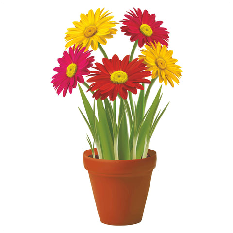 Potted Flowers Window Clings Gerberas, Tulips, Daisies, Crocuses and Daffodils window cling decorations. All are double sided, printed on high quality vinyl and measure ~ 9