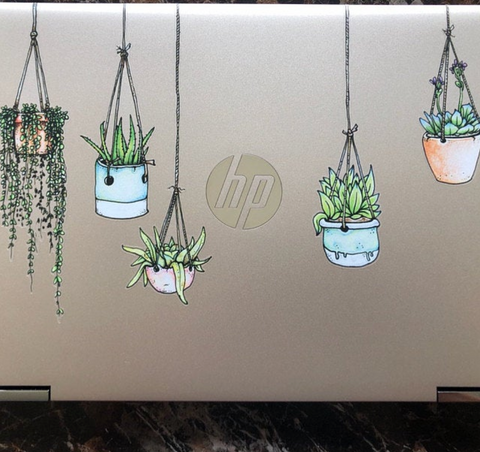 Colorful Illustrated Hanging Plant Laptop Sticker by Window Flakes