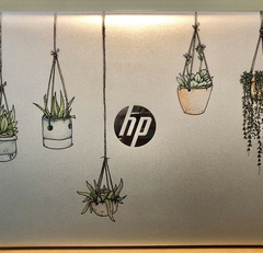 Illustrated Colorful Hanging Plant Laptop Stickers non-adhesive by Window Flakes