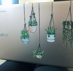 Beautiful Illustrated Hanging Plant Laptop Sticker Colorful by Window Flakes