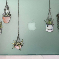 Illustrated Hanging Plant Laptop Sticker by Window Flakes