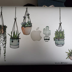 Beautiful Colorful Illustrated Hanging Plant Laptop Sticker by Window Flakes