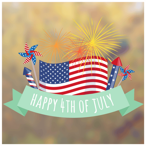 Happy 4th of July Firework Window Cling