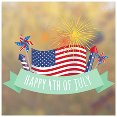 Happy 4th of July Firework Window Cling Independence Day Decoration