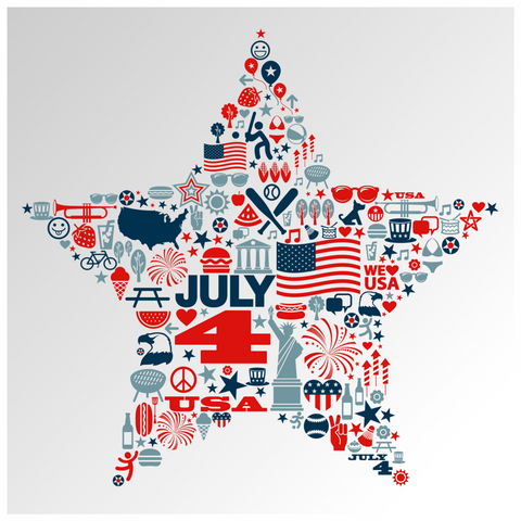 4th of July Icons Star Window Cling