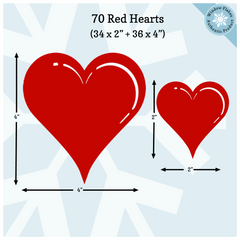 "70 Valentine Heart Window Clings (2"" & 4"" Heart Decals)"