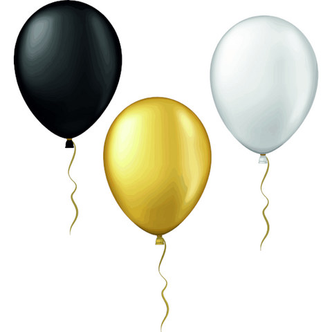 Balloon Window Clings (Black, Silver, Gold)