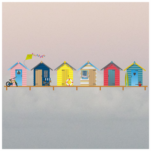 Beach Huts Border Window Cling