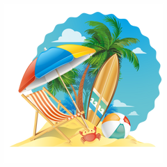 Summer Beach Scene Window Cling