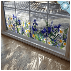 Botanical Spring Flowers Double-Sided Window Cling Decal Sticker. Ideal Spring / Summer Window Border for any retail store, office, salon or use in home decor.