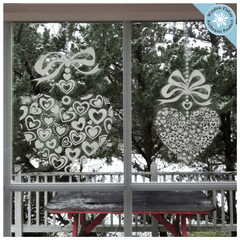 "11"" & 6"" Valentine Bow Heart Window decal clings"