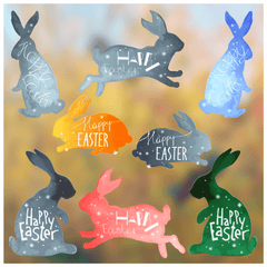 Easter Decorations - Easter Window Stickers - 8 Large x Pastel Easter Bunny Window Clings for Easter Window Display