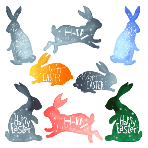 Easter Bunny Window Clings (set of 8)