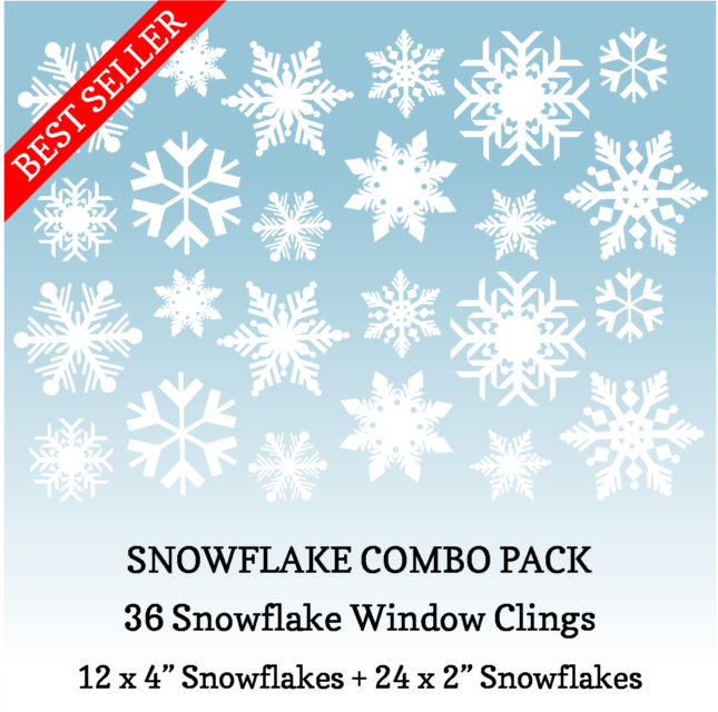 36 Snowflake Combo Pack of Snowflake Window Clings