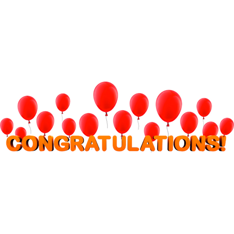 Congratulations Banner and Balloons Window Cling