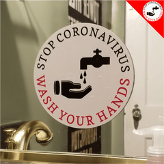STOP CORONAVIRUS - WASH YOUR HANDS - BATHROOM MIRROR DECAL CLING