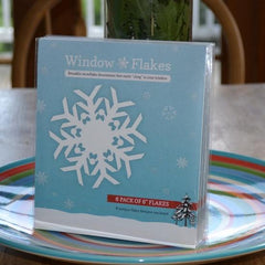 "6 Snowflake Pack of 6"" snowflake window clings. This pack contains 6 snowflake window clings / snowflake decals all 6"" in size."