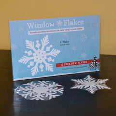 12 Flake, 4 Inch Static Cling Christmas holiday Snowflake Window Decoration Clings :: Window Flakes
