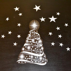 Christmas Tree and Stars reusable static cling Christmas holiday window decorations :: Window Flakes