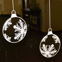 Decal Cling Snowflake Baubles: set of 9 white snowflake bauble window decal clings