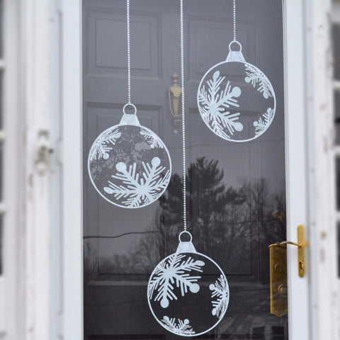 "6 Snowflake Cling Baubles (12"")"