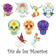 Dia de los Muertos - Halloween Day of the Dead Window Cling Decorations, Halloween Window Clings Day of the Dead Skulls – Sugar Skulls Window Clings