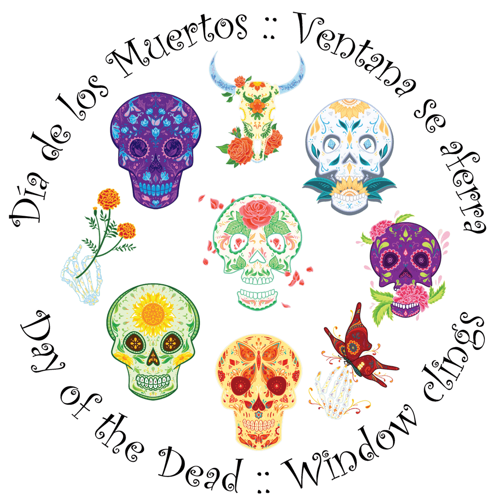 Dia de los Muertos - Halloween Day of the Dead Window Cling / Laptop Sticker Decorations