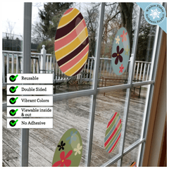 Easter Decorations - Easter Window Clings - 8 x Beautiful Colorful Easter Egg Window Clings for Easter Window Display