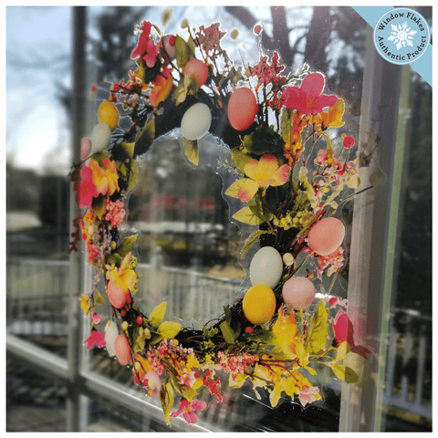 Easter Egg and Flowers Wreath Easter Cling