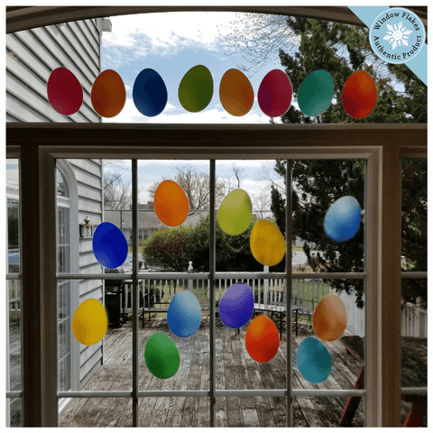 20 Colorful Easter Eggs Window Clings