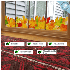 Fall Decor - 4ft long Fall Leaves Decoration Window Border - Double Sided Leaf Fall Window Clings For Glass Windows - Reusable Autumn Decorations - Fall Door Decor - Thanksgiving Window Clings