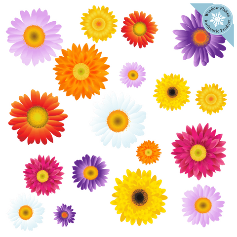 Gerbera & Daisy Flower Blooms Window Clings