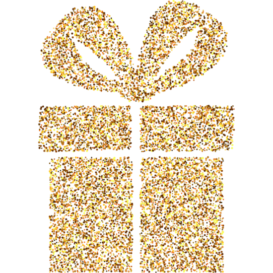 "Glittery gold gift window cling :: 17"" x 12"" :: Birthday Party Decoration - Christmas Window Cling"