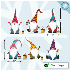6 Large Christmas Nordic Elves / Gnomes