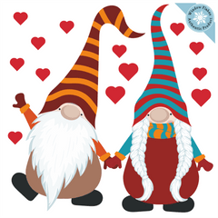 Valentine Gnome Window Cling Decorations :: Small & Medium
