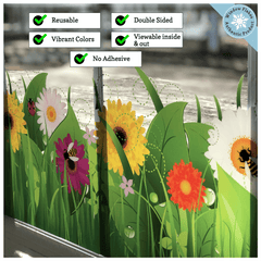 Window Cling grass flower bugs bee bees insects flakes salon hairdresser spring sticker windows decals decal shop decor decoration shops stores store grasses colorful flowers