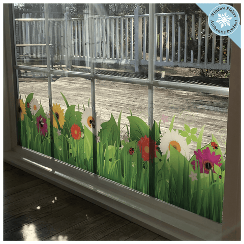 Wild Grass Window Cling Border with Flowers and Insects