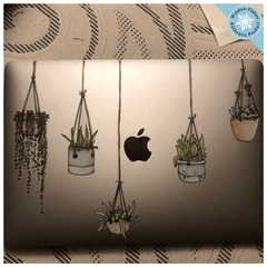 Illustrated Hanging Plants Laptop Stickers