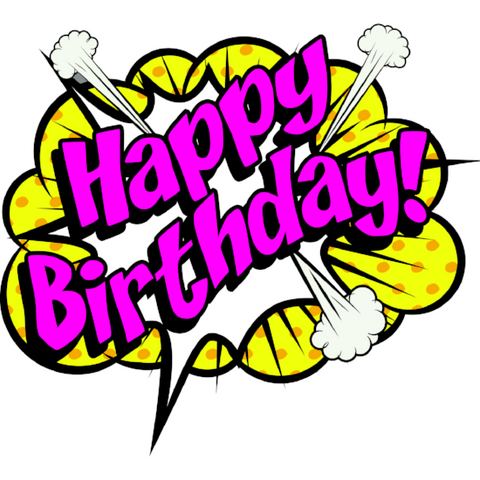 Boom! Happy Birthday Window Cling
