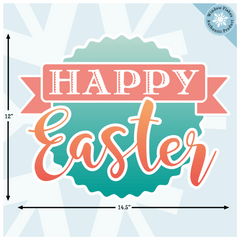 "Happy Easter Stamp Window Cling :: 14.5"" x 12"" :: Easter Window Clings From Window Flakes"