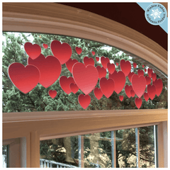 "Valentine's Day Window Decorations - Red Hearts Border Window Cling (47"")"