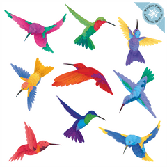 Watercolor Hummingbird Window Clings for glass safety and window decoration