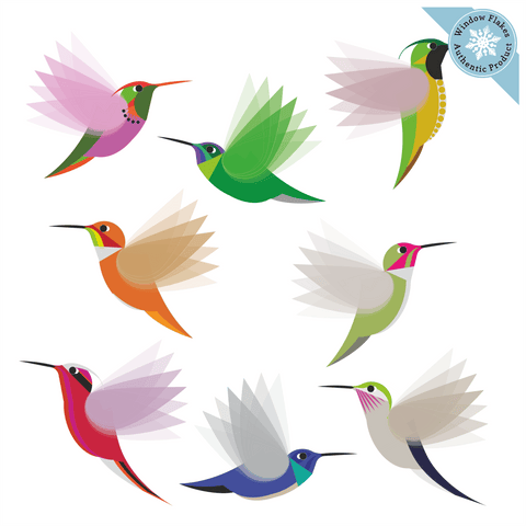Illustrated Hummingbird Window Clings - Set of 8