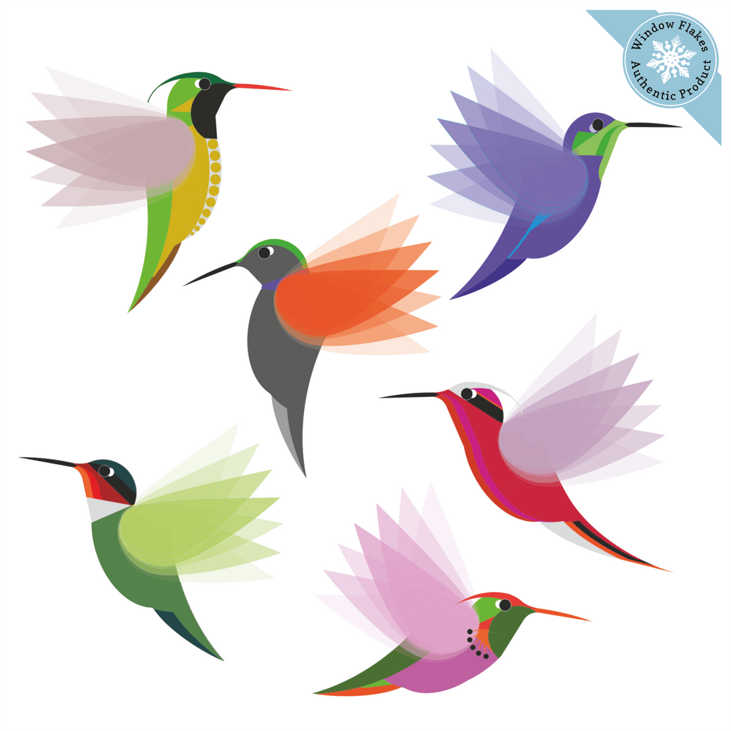 Illustrated Hummingbird (Small) Window Clings - Set of 6