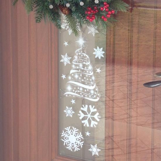 christmas tree and stars window cling decals christmas holiday window decorations