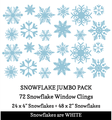 72 Snowflake Jumbo Pack of Snowflake Window Clings