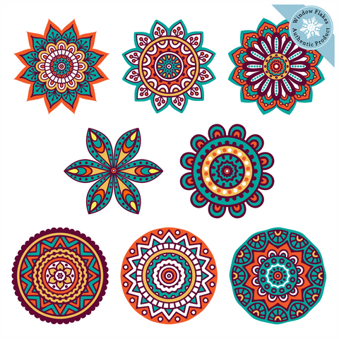 Mandala Sun Catchers (Set of 8) :: Stained Glass Window Cling