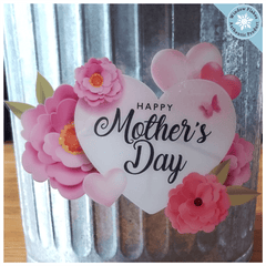 Mother's Day Heart & Flowers Window Cling - Mothers Day Window Stickers - Mother's Day Window Decorations - Mother's Day Heart & Flowers Vinyl Cling - Mothers Day Store Window Display Cling